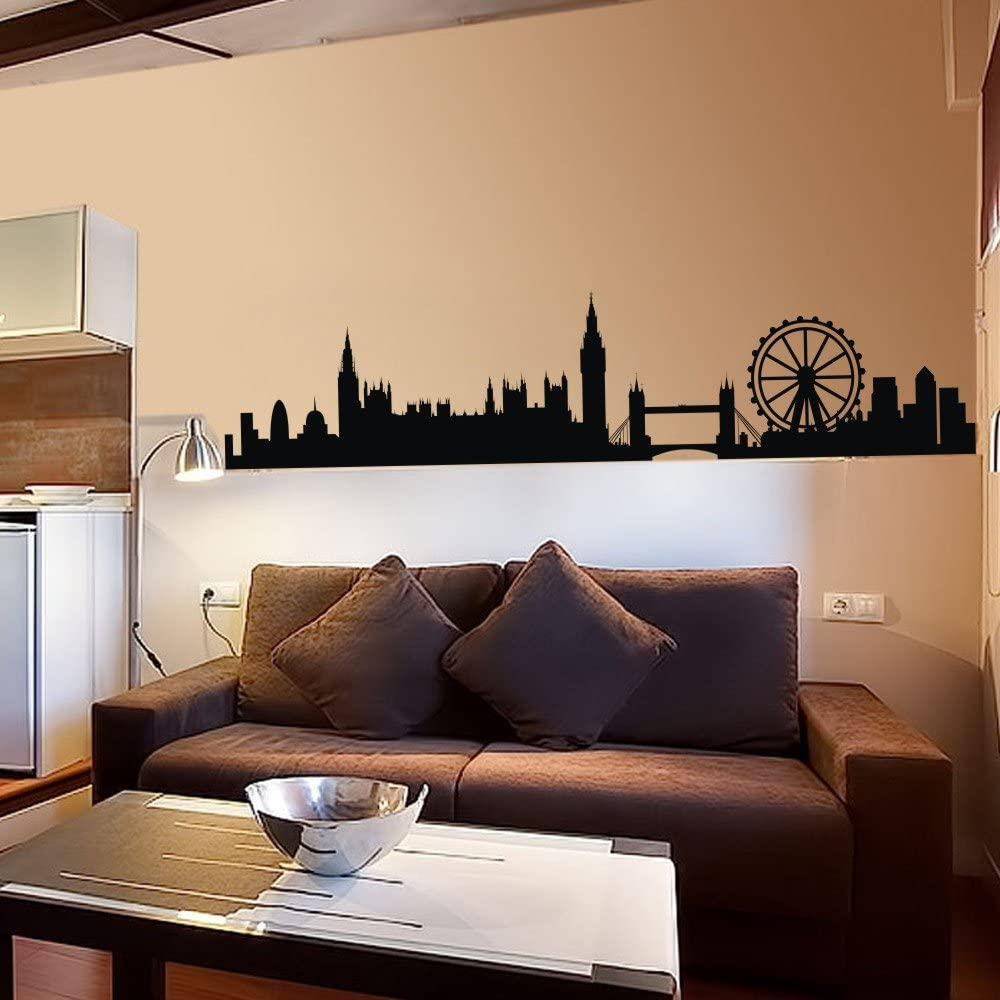 London Skyline Wall Decal London Skyline Silhouette Wall Sticker England  City Wall Decor Wall Graphic Home Art Decoration Black