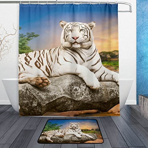 Tiger Pattern Shower Curtain Polyester Fabric Bathroom Curtain Set with Mats Rugs-12 Hooks