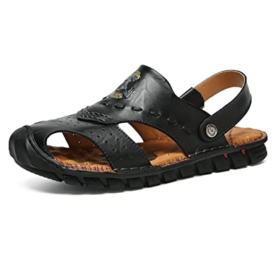 Yao Leder Strand Hausschuhe Mode-Stil Indoor $ Outdoor Casual Breathable Anti-Rutsch-Soft Flat Closed Toe Einstellbare...