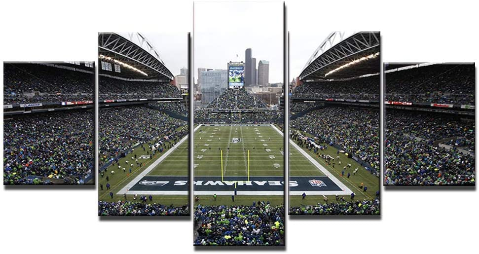 CenturyLink Field Poster Wall Decor for Home Painting 5 Piece Canvas Prints Seattle Seahawks Wall Art Picture Modern Decoration for Bedroom Poster with Frame Ready to Hang(60''Wx32''H)