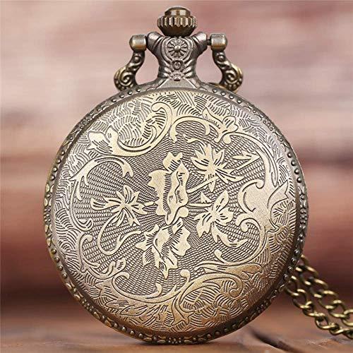 ZJZ Vintage fickur kreativ vild varg retro brons vintage fickur män kvinnor mode hänge kvartsklocka