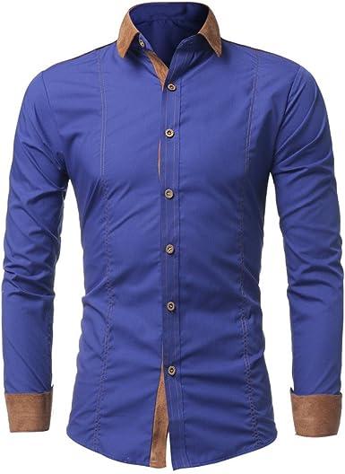 Camisas Botones Hombre De Vestir Regular Fit Casual Color Contraste De Manga Larga Slim Fit Negocio Formal Básica Mezcla De Algodón Blusa Tops: Amazon.es: Ropa y accesorios