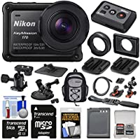 Nikon KeyMission 170 Wi-Fi Shock & Waterproof 4K Video Action Camera Camcorder + Remote + Suction Cup, Dash & Helmet Mounts + 64GB Card + Battery + Backpack Kit