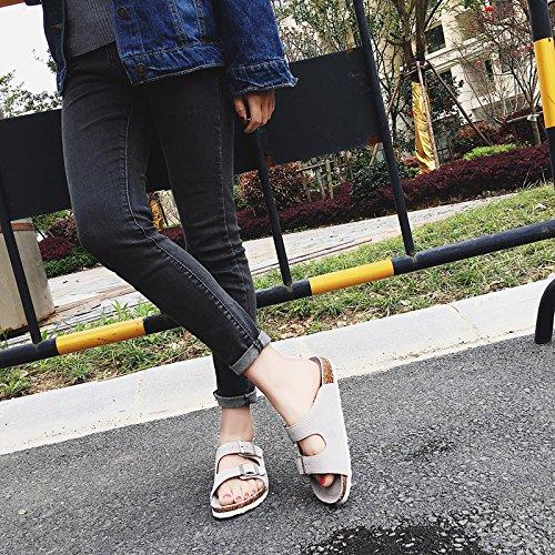 Xing Lin Sandalias De Cuero Los Hombres Sandalias De Verano Piso Antideslizante Y Estupendo Para Parejas Calzado De Playa Corcho Zapatillas Cool Zapatillas Hembra Estándar De 44 109 N Doble De Lana Be