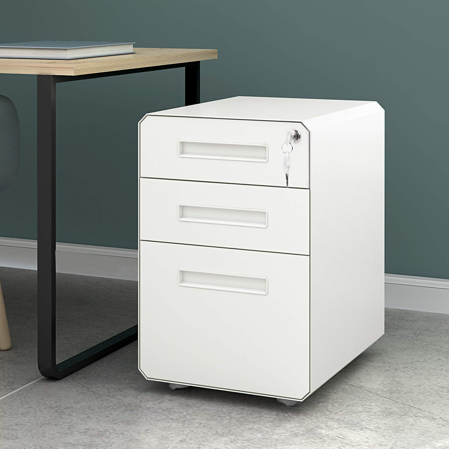 M&W 3 Drawer Mobile File Cabinet, Metal Locking Letter Filing Cabinet by M/W M & W (Image #2)