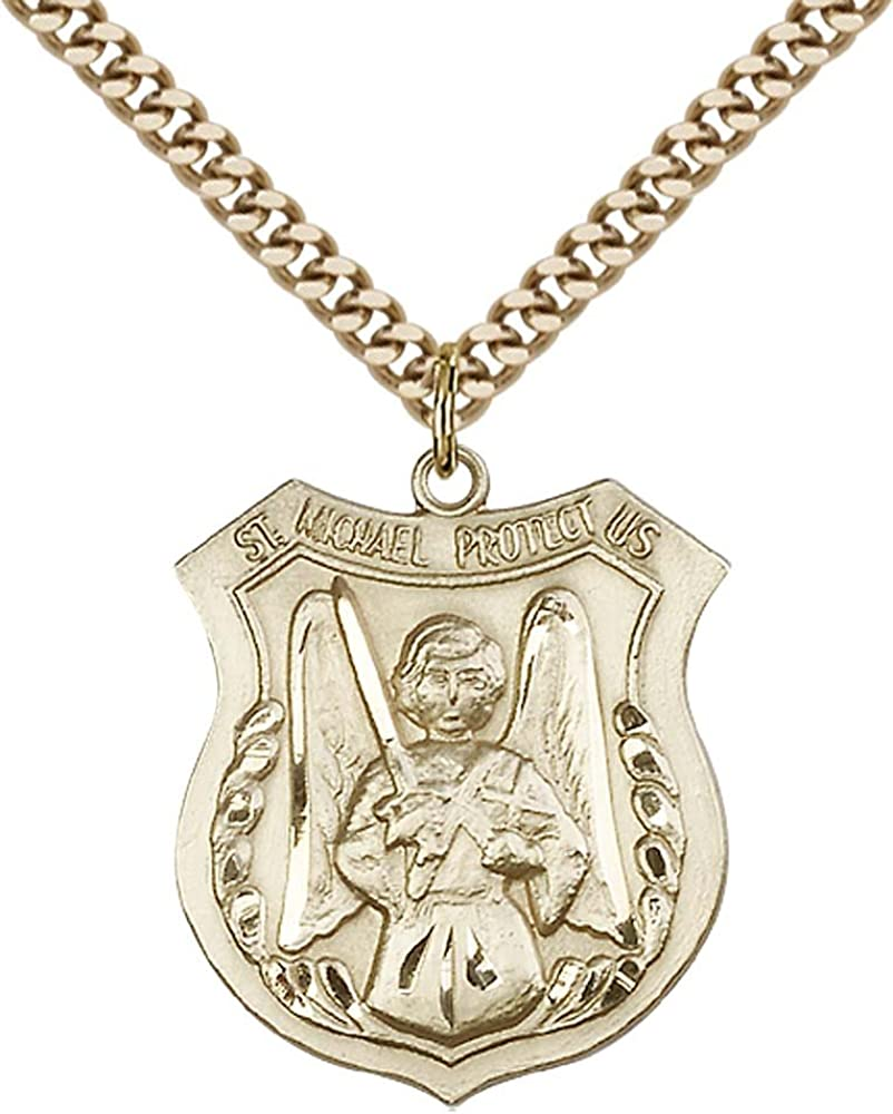 F A Dumont 14kt Gold Filled St Michael The Archangel Pendant with 24 Gold Plated Stainless Steel Heavy Curb Chain Patron Saint of Police Officers//EMTs
