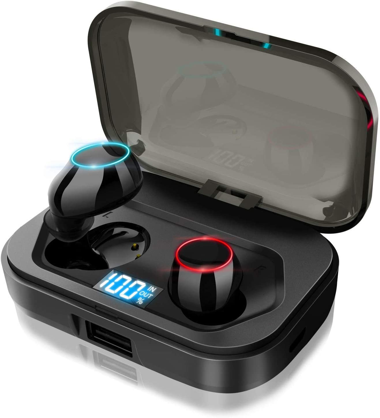 Wireless Earbuds, LEHII Latest Bluetooth 5.0 Headphones, True Wireless Earbuds with 3500mAh Charging Case, Deep Bass 3D Stereo Sound, Built-in Microphone LED Digital Display Headsets for Sports