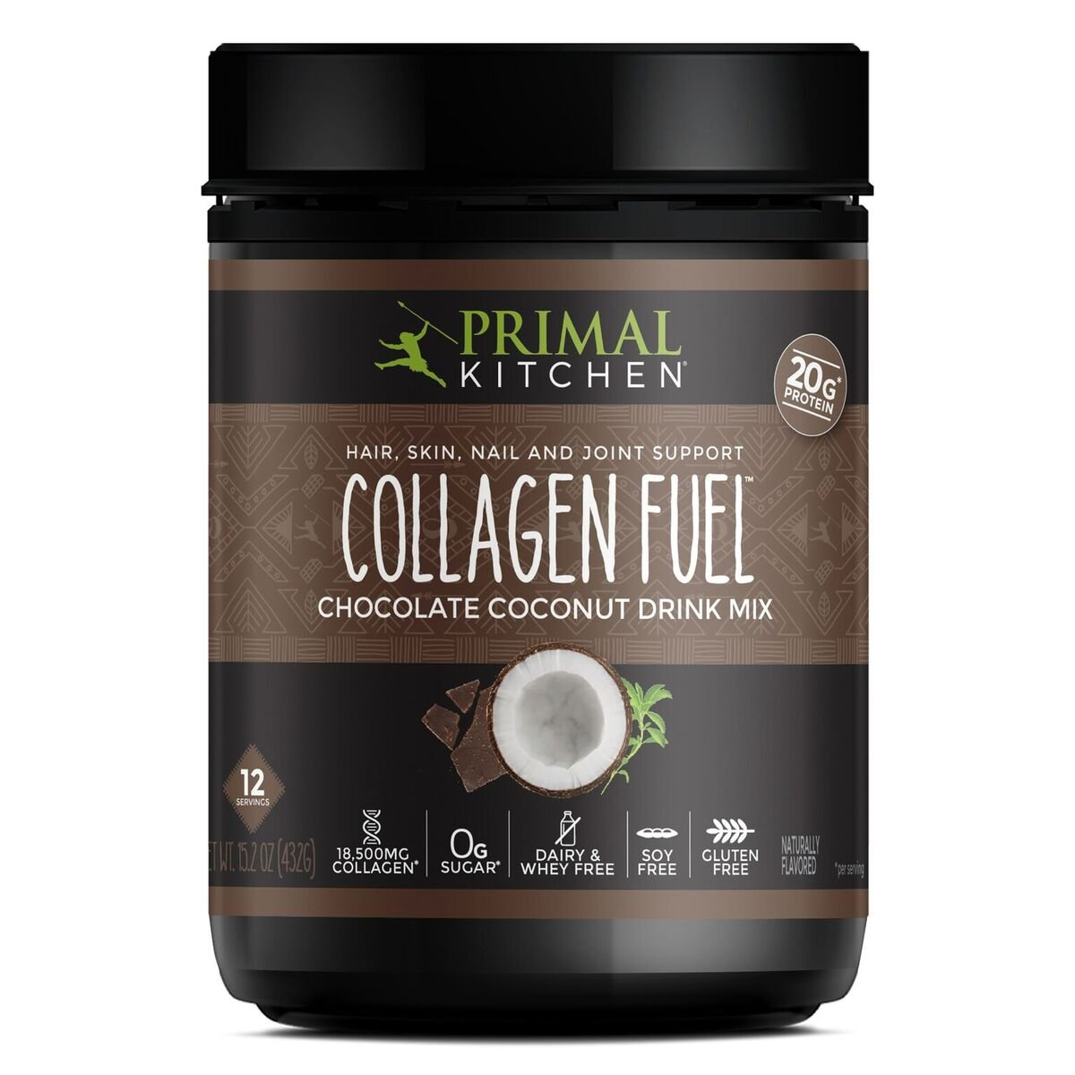 Primal Kitchen - Collagen Fuel Protein Mix, Supports Healthy Hair, Skin, Nails and Joints, Promotes Muscle Repair (Chocolate Coconut, 13.9 oz)