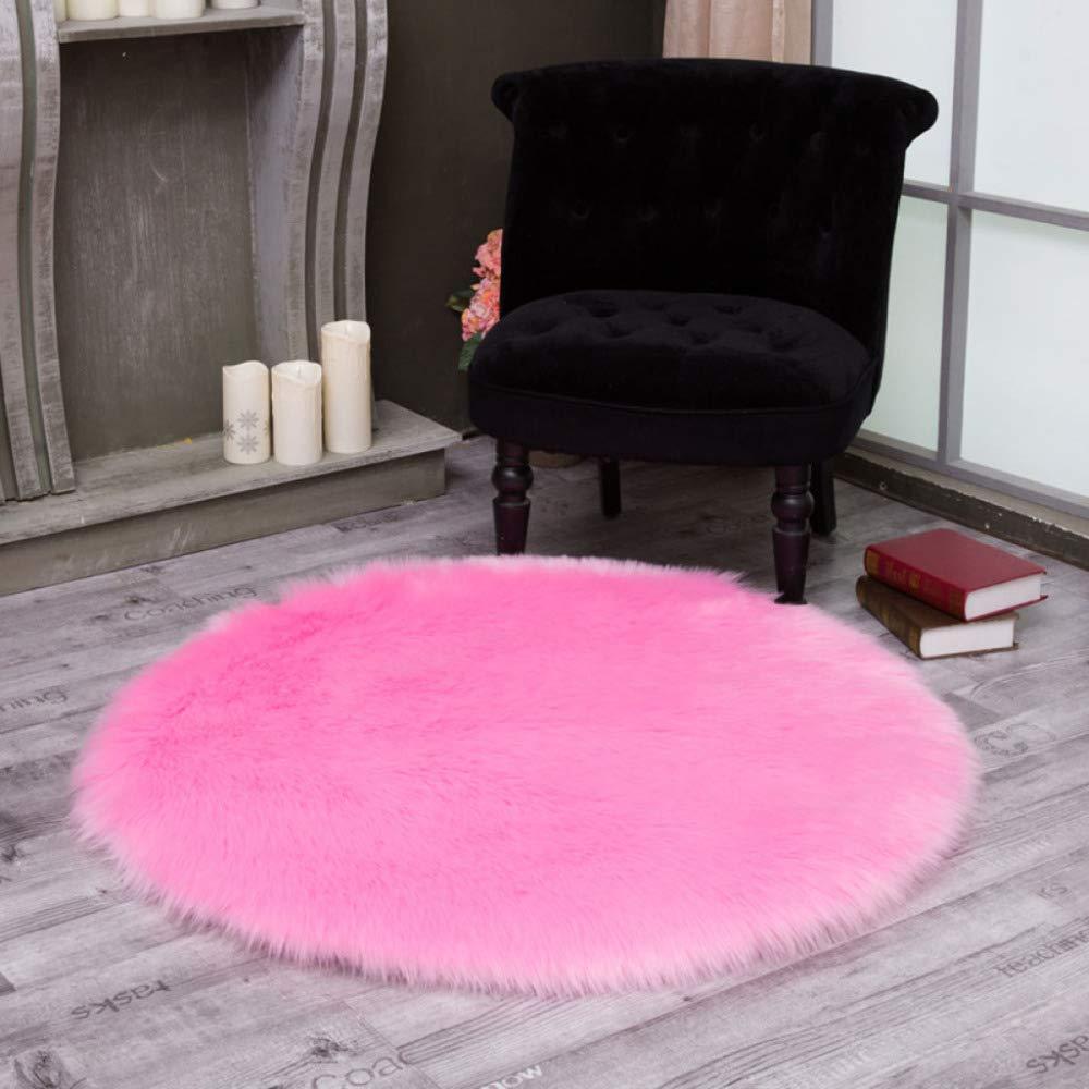 Flaumige Kunstfell Teppich Runde 5-6cm Waschbar Faux Faux Faux Hochwertige Wolle Matte Für Stuhl Sofa Überwurf,schwarz-240cm 94.4