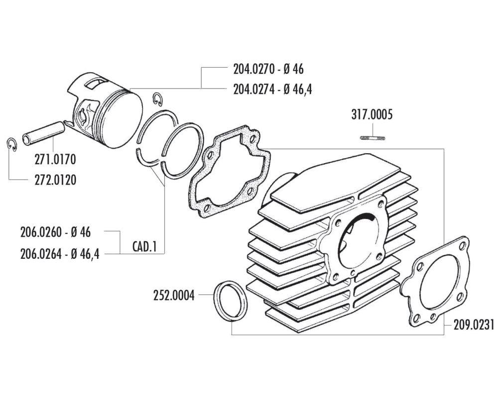 zylind erdichtung taux POLINI pour Honda Camino PX 50