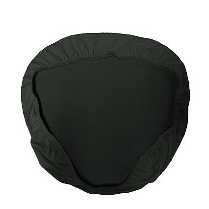 La Linen Spandex Chiavari Chair Cushion Cover 4 Pack Black Solid