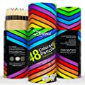 Colored Pencils Coloring Drawing Color Pencil Set 48 Colors - Best Art Colour Pens for Adults and Kids with FREE Extra Gift Book (ebook)- Artist Sketch Draw Pack with 100% Quality Guarantee (1 Set) by ZenZoi