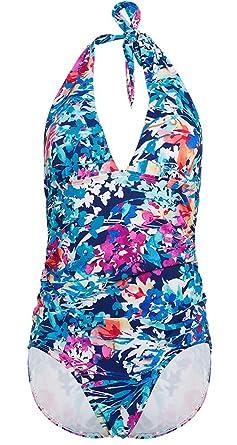 3198d5e15d09c DUSISHIDAN Women One Piece Swimsuit Plunge Deep V Neck Bikinis Halter Swim  Costume Floral Printed Swimwear UK 8 to 22: Amazon.co.uk: Clothing