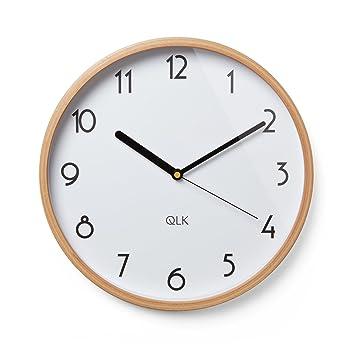 QLK Wanduhr Weiß Geräuscharm, Architect, Top Modern, Schlicht,  Minimalistisch, Gut Ablesbar