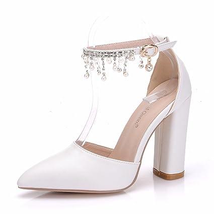 Mujer Fornido Alto Talones Blanco Zapatillas Boda Zapatos Para Novia Señoras Tobillo Correa Sandalias Corte Diamante