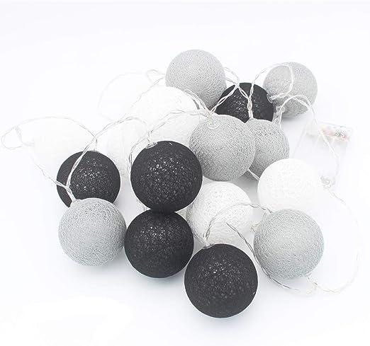 Bola de algodón de 10 pies, color blanco, gris, negro, con 20 ...