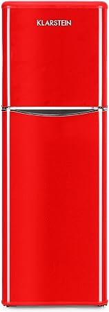 Klarstein Monroe XL Red - Nevera, Congelador, Frigorífico congelador combi, Diseño de los años 50, Silencioso, 97 l, Congelador de 39 l, 3 Baldas de vidrio, 70W, Rojo