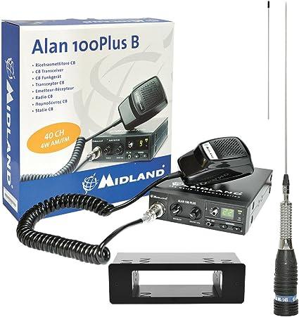 Midland PNI Pilka CB Radio Kit Alan 100 + 1DIN maletín + Antena CB ml145 sin Cable