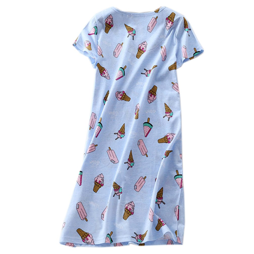 ENJOYNIGHT Womens\' Short Sleeve Nightgown Print Sleep Dress Cute Sleepwear (X-Large, Ice Cream)