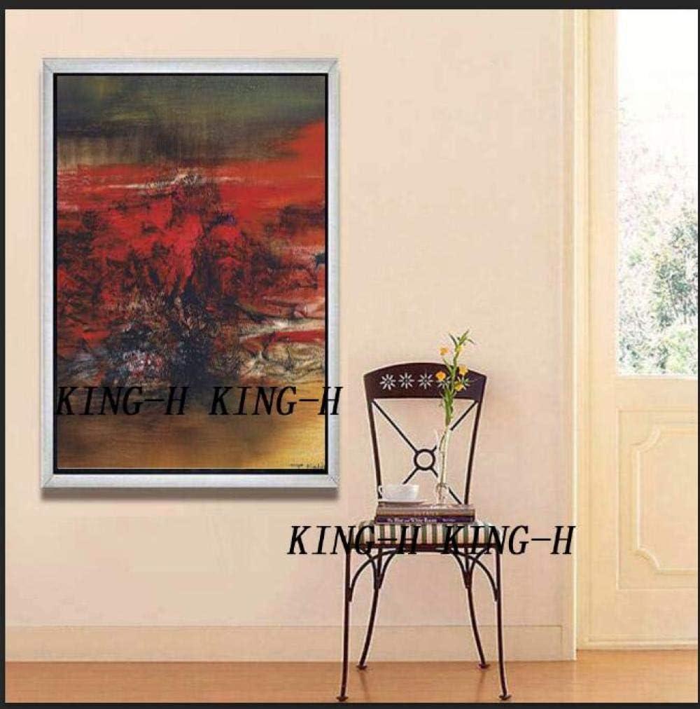 mmzki Pintura al óleo de Famosos Arte Abstracto Pintado a Mano Pintura al óleo Lienzo Pintura Pared roja Arte Foto Pared Artes Decorativas para restaurantes-60x90CM_KH5