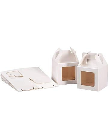 Juego de 20 cajas pequeñas de papel con ventanas para dulcesDimensiones: 8 x 8 x