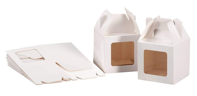 Set 12 pz scatoline portadolci in carta cm. 12 x 12 x 12 con finestra colore bianca SF