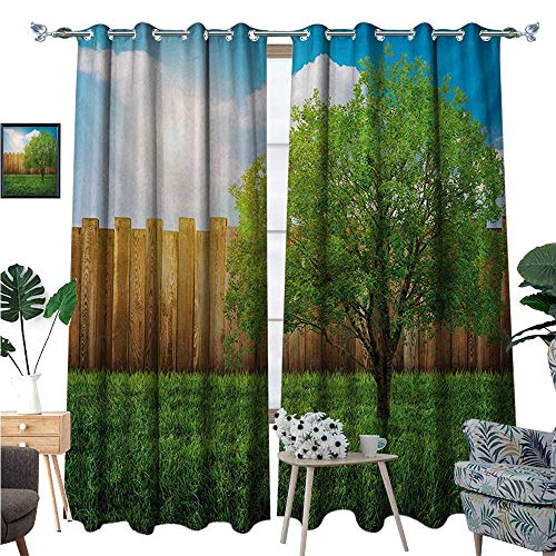 Farmland Waterproof Window Curtain Tree of Life in Backyard of a Countryhouse with Sun Tranquil Field Design Art Blackout Draperies for Bedroom W120 x L96 Green Blue
