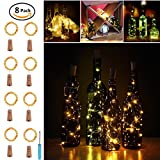 Wine Bottles Cork Lights Copper Wire String Lights, 2 m / 7.2 ft Copper Wire 20 LED Bulbs for Bottle DIY, Christmas, Wedding and Party Décor by fansheng(8 packs)
