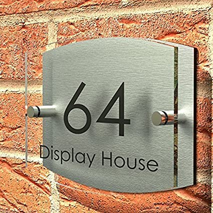 9919e9b828c Displaypro House Number Sign Plaque Thick Glass Effect Acrylic Multiple  Shapes and Fonts Available ...  Amazon.co.uk  Kitchen   Home