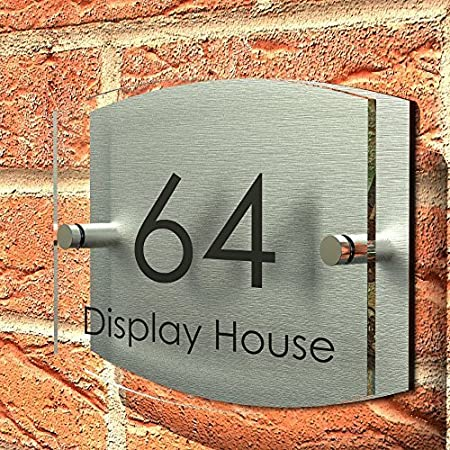 displaypro house number sign plaque thick glass effect acrylic