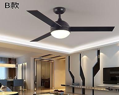 Ventilador retro, moderno y sencillo de luz lámpara ventilador, salón restaurante, ventilador de techo, American industrial control remoto lámpara colgante,B Regulador de pared: Amazon.es: Iluminación