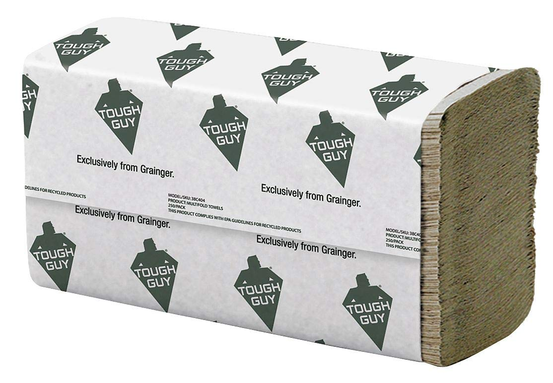Brown Paper Towels Multifold, 16 Pack, 250 Sheets/Pack by Tough Guy