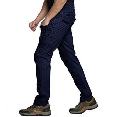 45632f9892b Men Cargo Tactical Pants Cotton Flexible Work Outdoor Casual Slim Fit  Hiking Camping Fishing Hunting Army
