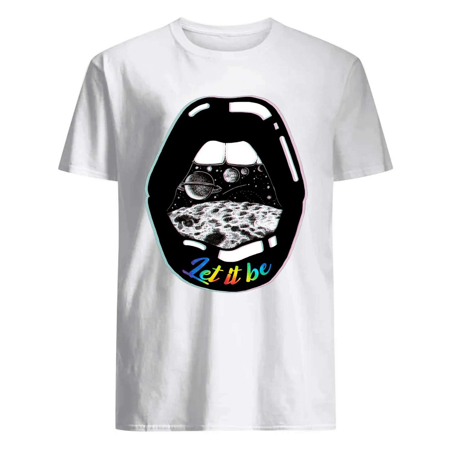 Usa 80s Tee Let It Be Space Lips Black Hippie Shirt