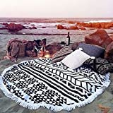 Cotton Thick Round Beach Towel - GreForest Ultra Thick Circle Towel With Tassels Heat Insulation Circle Beach Towels For Beach Leisure, Swimming, Bathing, Picnic / Yoga Mat, Tablecloth(White & Black)