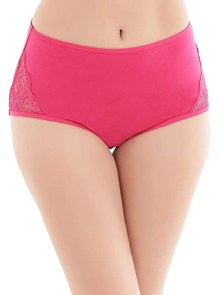 0f2274ebdb3 Clovia Women s Cotton High Waist Hipster Panty with Lace Panels at Sides   Amazon.in  Clothing   Accessories