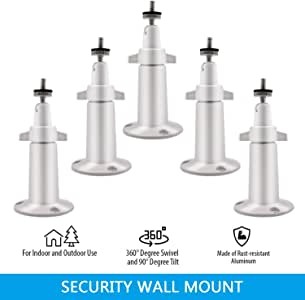 AxPower Metal Wall Mount Adjustable Indoor/Outdoor Aluminium Alloy Security Camera Yard Mount Compatible with Arlo, Arlo Pro 3, Arlo Pro 2, Arlo Ultra, Ring Stick Up Cam (5 Pack, White)