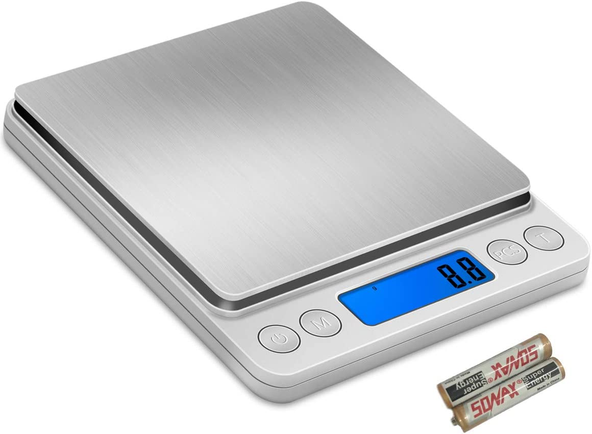 Digital Kitchen Scale 0.1g/2kg,MFEI Food Scale Grams and Ounces for Baking Cooking Baby Diet with 2 Bowl 2 Batteries,6 Units, Auto Off, Tare. Mini Pocket Coffe Scale,Gram Scale of Kitchen Tool