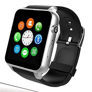 Reloj Inteligente, Tarjeta SIM con Monitor de Ritmo cardíaco, Pantalla táctil Bluetooth para Android y iOS (Dorado): Amazon.es: Deportes y aire libre