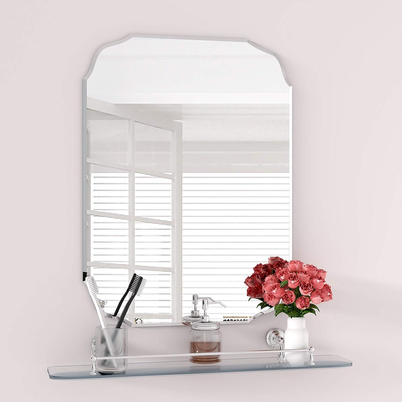 "KOHROS Rectangle Beveled Polished Frameless Wall Mirror for Bathroom, Vanity, Bedroom (18""x 24""), Sliver"