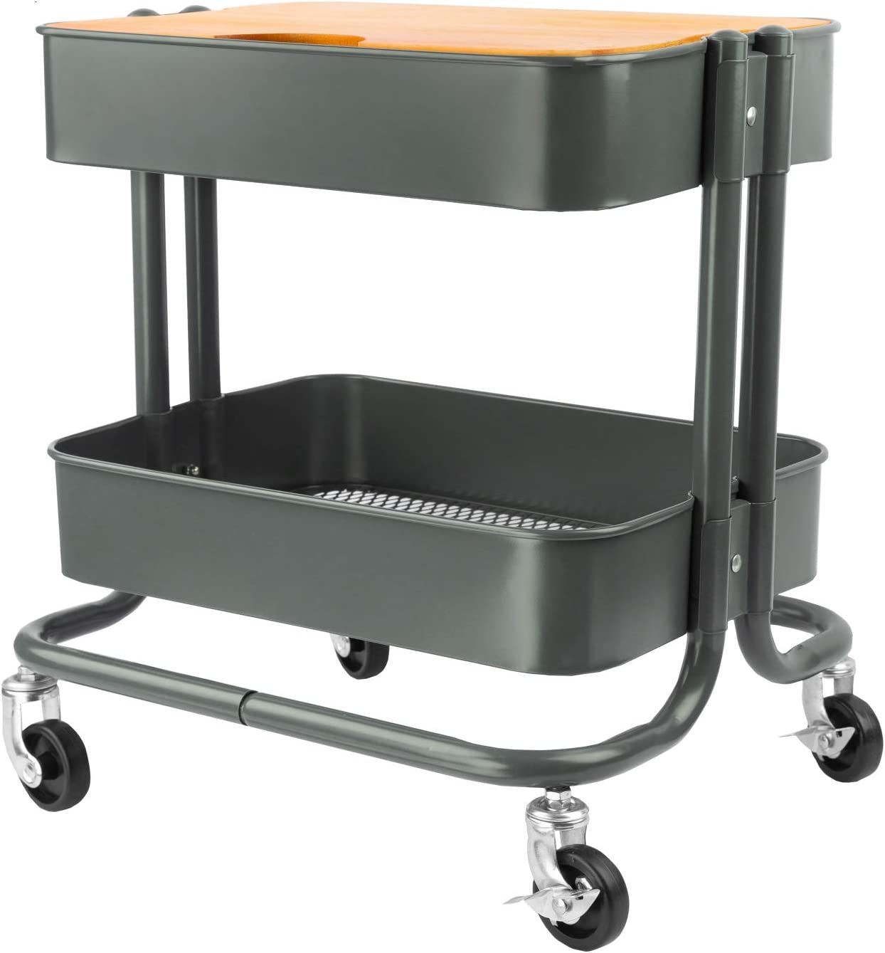 2 Tier Rolling Cart Metal Utility Cart With Wheels And Cover For Office Home Kitchen Organization Kitchen Dining