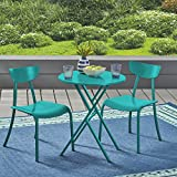 Cheap Great Deal Furniture Lucy Outdoor Bistro Set, Matte Teal