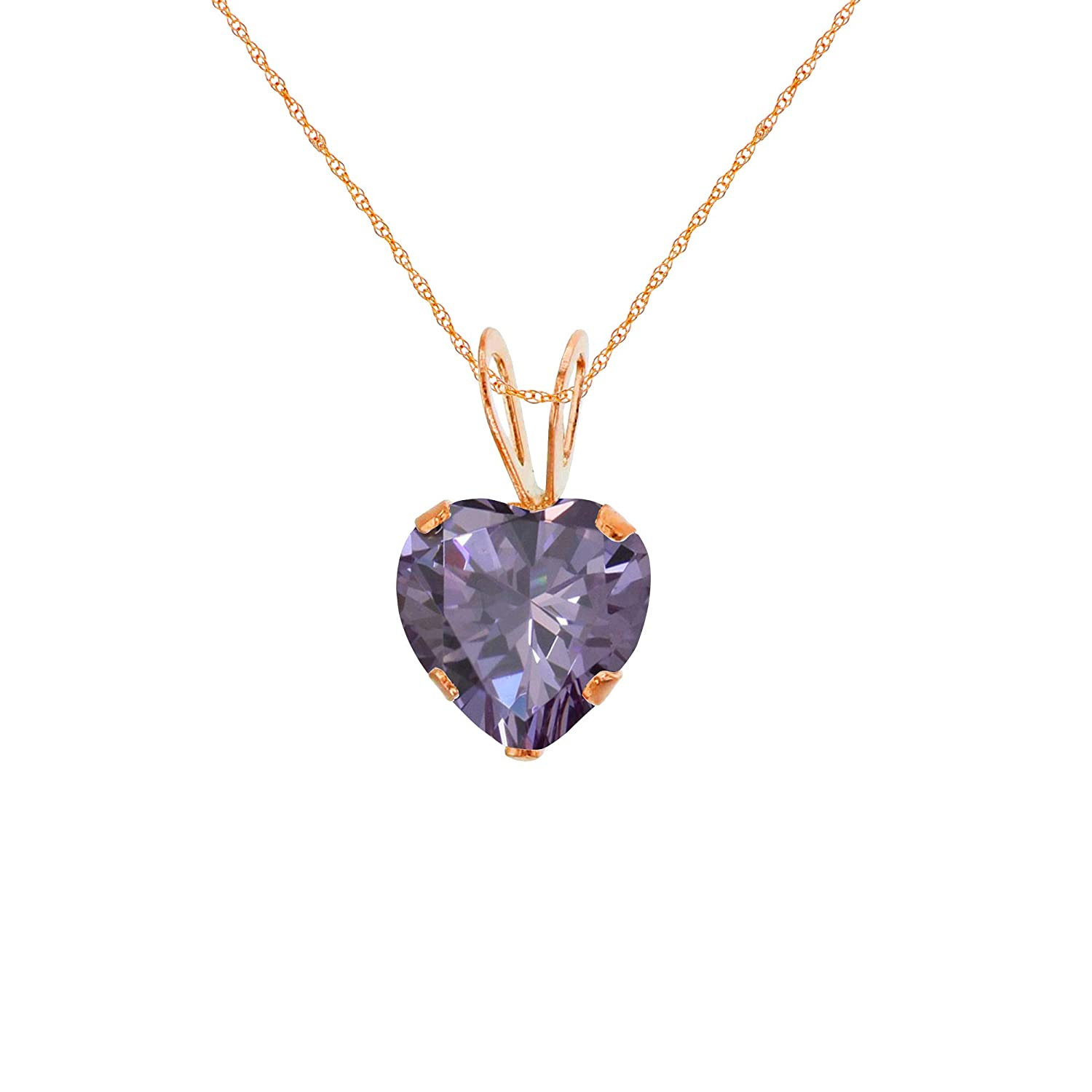 Rose Gold 6x6mm Heart Genuine Or Created Gemstone Birthstone 18 Rope Chain Necklace Solid 10K Yellow White
