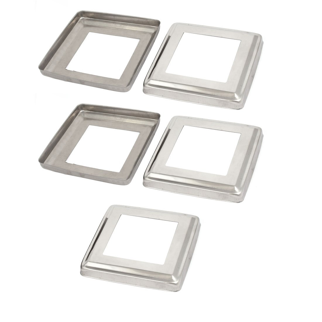 uxcell 5pcs Ladder Handrail Hand Rail 80mmx80mm Post Plate Cover 201 Stainless Steel