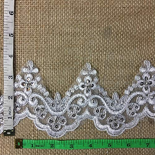 Trims Wt White 4 (2 Yard, Bridal Lace Trim on Organza, Pearls and Clear Sequins, for Veil, Wedding Dresses, Garments, (White w/ Silver Cording and Sequins), 5