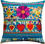 Koko Mexico Hearts Print and Embroidery Cotton Pillow, 22 by 22-Inch, Multi-Color