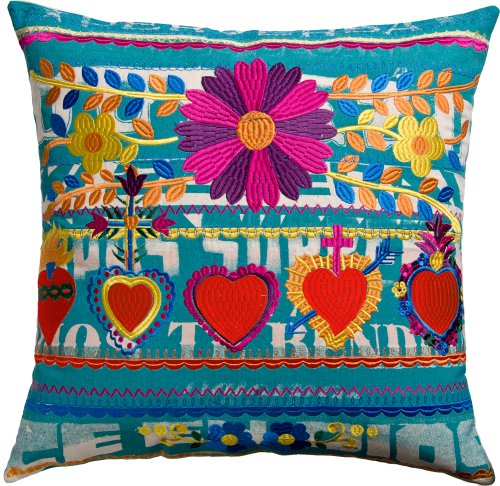 Koko Mexico Hearts Print and Embroidery Cotton Pillow, 22 by 22-Inch, (Koko Cotton Pillow)