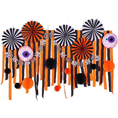 Black And Orange Party Decorations (Halloween Decorations Kit Paper Fans Crepe Paper Streamers Black Orange Paper Honeycomb Balls Skeleton Banner for Home Halloween Party Backdrop Decoration SUNBEAUTY 28Pieces)