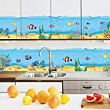 AWAKINK Under the Sea Decals The Deep Blue Sea Fishes Ocean Decorative Peel Vinyl Wall Stickers Wall Decals Removable Decors for Wall Corner Bathroom Kids Room Baby Nursery Boys and Girls Bedroom