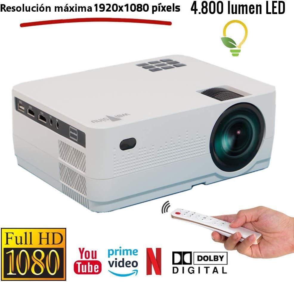 Proyector Full HD 1080P Unicview HD450 Android Bluetooth 4.800 lúmenes LED, Maxima luminosidad Portátil LED Cine en casa AC3 HDMI USB MKV Sin Input Lag Corrección Horizontal y Vertical (Blanco)